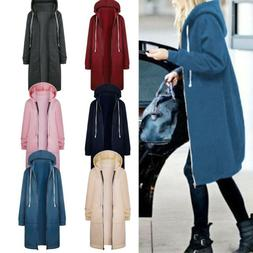 Plus Size Women Zipper Open Hoodie Sweatshirt Long Coat Loos
