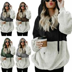 Plus Size Womens Warm Fleece Hooded Hoody Sweatshirt Hoodies