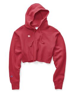 Champion Red Spark Reverse Weave Cropped Cut Off Hoodie