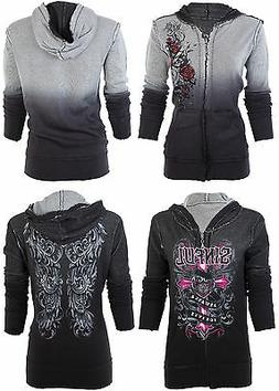SINFUL by AFFLICTION Women REVERSIBLE Hoodie Jacket DARK ROM