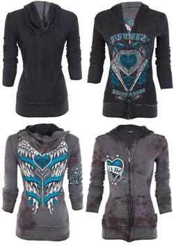 SINFUL by AFFLICTION Women REVERSIBLE Hoodie ZIP UP Jacket L