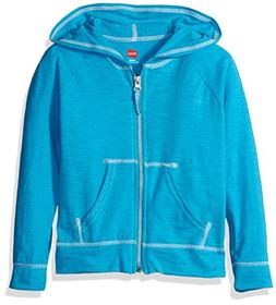 Hanes Girls' Slub Jersey Full-Zip Hoodie Process Blue M