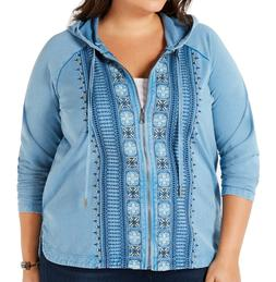 Style & Co. Women's Hoodie Blue Size 3X Plus Embroidered Ful