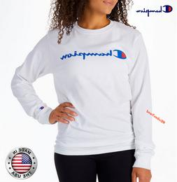 Champion sweater for women in white reverse weave crew sweat