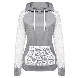 Han Shi Sweatshirt, Womens Sexy Lace Patchwork Pullover Hood