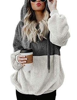 Womens Sweatshirt Faux Fleece Pullover Hoodies Winter Coat T
