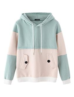 SweatyRocks Sweatshirt Women Colorblock Pullover Fleece Hood