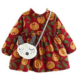 XUANOU Toddler Baby Girls Long Sleeves Fruits Leaf Print Lac