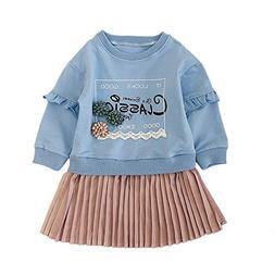 XUANOU Toddler Kids Baby Girl Letter Princess Pleated Dress