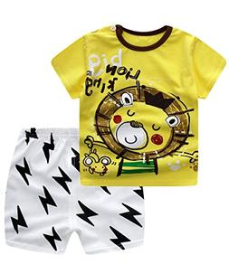 Unisex Baby Boys Girls 2-Piece Cotton Pajama Sleepwear Summe