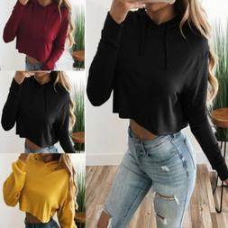 US Ladies Crop Hoodie Women Pull Over Plain Casual Short Hoo