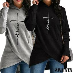 US Ladies Women's Hoodie Sweatshirt Faith Print Long Sleeve