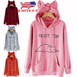 US Women Cat Long Sleeve Hoodie Sweatshirt Jumper Sweater Pu