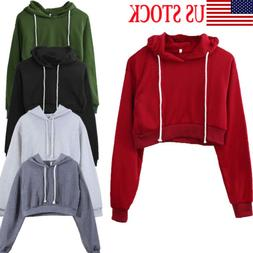 US Women Cotton Hoodie Sweatshirts Crop Tops Sweater Long Sl