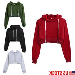 us women cotton hoodie sweatshirts crop tops