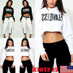 US Women Hoodie Sweatshirt Jumper Sweater Crop Top Coat Spor