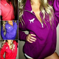 US Women's Winter Hoodie Sweatshirt Hooded Jumper Sweater Pu
