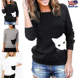 US Womens Cat Printed Hoodie Sweatshirt Long Sleeve Blouse J