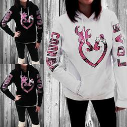 US Womens Long Sleeve Xmas Hoodie Sweatshirt Casual Hooded C