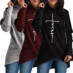USA Ladies Hoodie Women's Sweatshirt Faith Print Long Sleeve