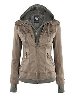 WJC664 Womens Faux Leather Jacket With Hoodie L Khaki