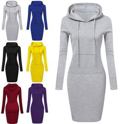 Women Casual Midi Dress Long Sleeve Hoodie Hooded Jumper Pul