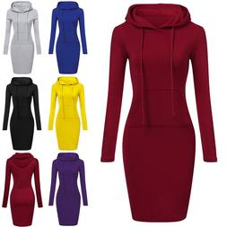 Women Casual Midi Dress Long Sleeve Hoodie Hooded Jumper Poc