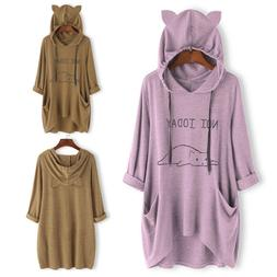 Women Cat Print Loose Hoodie Hooded Sweatshirt Long Sleeve C