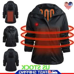 Women Electric Battery Heated Hoodie Jacket Coats Winter War