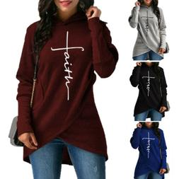 Women Fashion Faith Print Sweatshirt Fleece Sweatshirts Hood