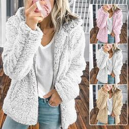 Women Fluffy Fleece Hoodie Zip Up Sweatshirt Jacket Coat Ted