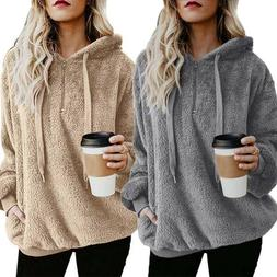 Women Fluffy Polar Fleece Sweatshirt Hoodies Jumper Hoody To