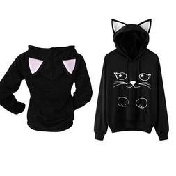 Women Girl Hooded Tops Hoodie Sweater Cat Ear Long Sleeve Pu