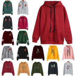 Women Hooded Long Sleeve Sweatshirt Hoodie Pullover Jumper S