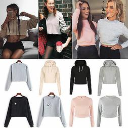 Women Hoodie Jumper Sweatshirt Sweater Casual Crop Top Coat