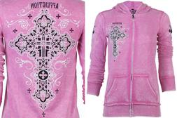 AFFLICTION Women Hoodie Sweat Shirt ZIP UP Jacket PARADIGM B