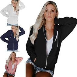 Women Hoodie Sweatshirt Casual Loose Sport Coat Jacket Plain