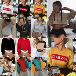 Women Hoodie Sweatshirt Jumper Sweater Crop top Coat Sports