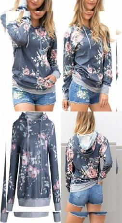 Angashion Women Hoodies-Tops- Floral Printed Long Sleeve US