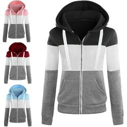 Women Ladies Zip Up Hoodie Hoody Jacket Coat Sweatshirt Top