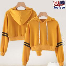 Women Long Sleeve Hooded Hoodie Sweatshirt Jumper Pullover B