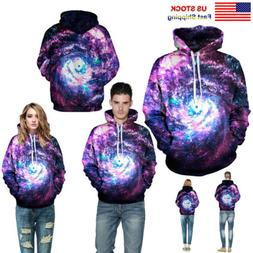 Women/Men Sweatshirts Couple Hoodie 3D Starry Sky Galaxy Hoo