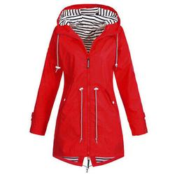 Women Outdoor Jacket  Hoodie Waterproof Wind Coat Solid Colo
