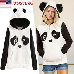 Women Panda Long Sleeve Hoodie Sweatshirt Sweater Casual Hoo