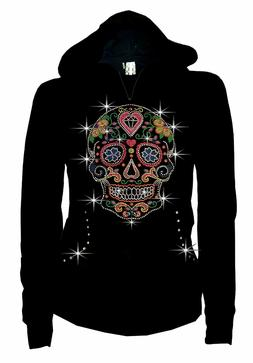 Women PLUS SIZE Sugar Skull Hoodie Sweater Bling Rhiestone p