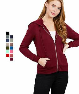 Women's Basic Zip Up Fleece Hoodie Jacket Lightweight w/ Poc
