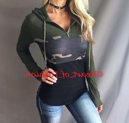 Women's Camo Colorblock Zip Front Long Sleeve Fitted Hoodie