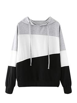 SweatyRocks Women's Color Block Lightweight Long Sleeve Pull