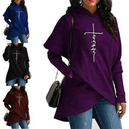Women's Fashion Casual Long Sleeve Faith Letter Printed Hood