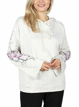 FASHION HOUSE LA WOMEN'S FLORAL EMBROIDERY WIDE SLV PULLOVER